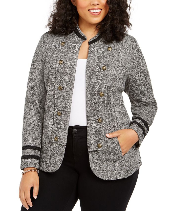 Tommy Hilfiger - Plus Size Double-Breasted Open-Front Jacket