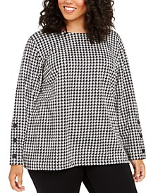 Plus Size Houndstooth-Check Top
