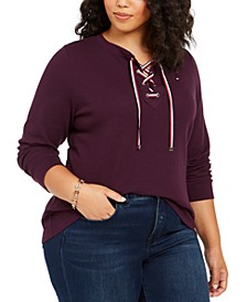 Plus Size Lace-Up Waffle-Knit Top