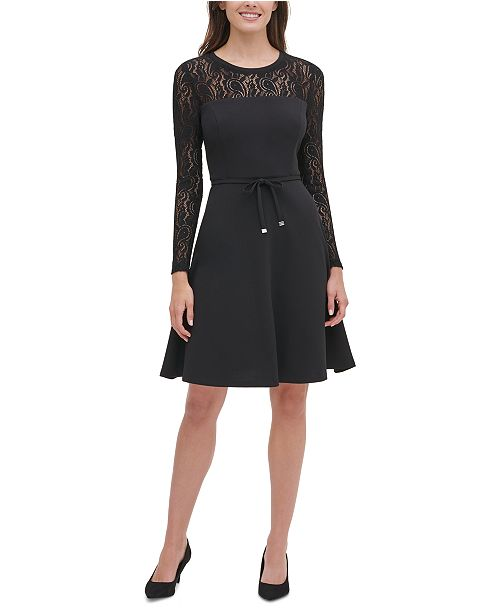 Tommy Hilfiger Lace-Sleeve Fit & Flare Dress