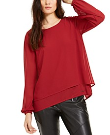 Layered-Look Crossover-Back Top, Regular & Petite Sizes