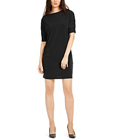 Grommet-Trim Shift Dress