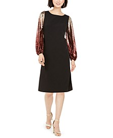 Sequin-Sleeve Dress