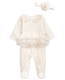 Baby Girls 2-Pc. Velour Sparkle Tutu Coveralls & Headband Set, Created For Macy's