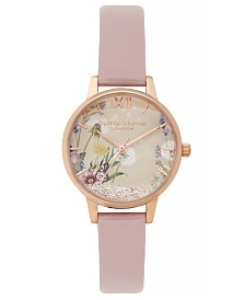Olivia Burton Women's Wishing Watch Rose Vegan Leather Strap Watch 30mm