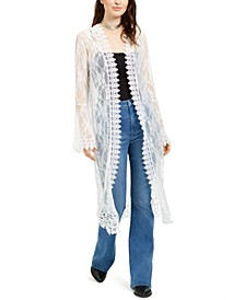 Juniors' Lace Duster Top