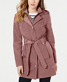 Front-Zip Hooded Trench Coat