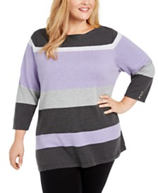 Karen Scott Plus Size Striped Ballet Neck Cotton Sweater, Created For Macy's