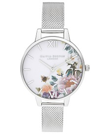 Olivia Burton Women's Enchanted Garden Stainless Steel Mesh Bracelet Watch 34mm