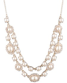 "Gold-Tone Imitation Pearl & Crystal Layered Collar Necklace, 16"" + 3"" extender"