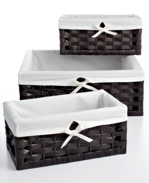 Household Essentials Storage Baskets Set of 3 Paper Rope Utility