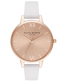 Olivia Burton Women's Blush Leather Strap Watch 34mm