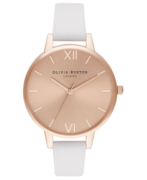 Olivia Burton Women's Blush Leather Strap Watch 34mm
