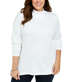 Karen Scott Plus Size Cotton Mock Neck Sweater, Created For Macy's