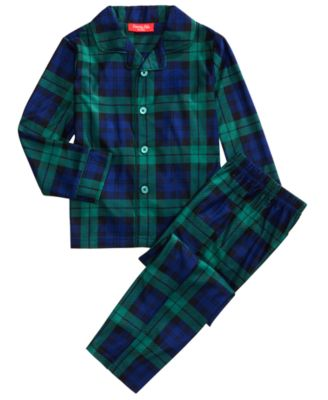 Matching Kids Black Watch Plaid Pajama Set, Created For Macy's
