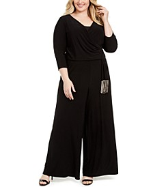 Plus Size Surplice-Neck Tie-Waist Jumpsuit