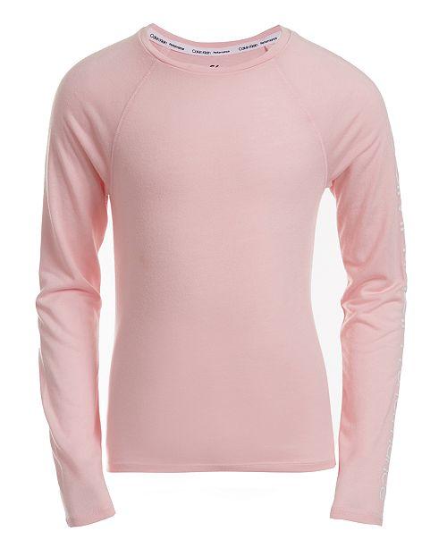 Calvin Klein Big Girls Tie-Back Logo-Print T-Shirt