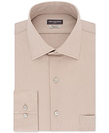 Men's Flex Classic/Regular-Fit Stretch Wrinkle-Free Nailshead Print Dress Shirt