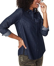 Chambray Cotton Button-Down Top