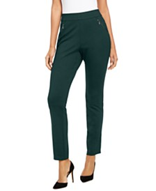 I.N.C. Curvy Zippered Straight-Leg Pants, Created for Macy's