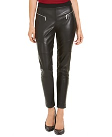 Michael Michael Kors Faux-Leather Moto Leggings, Regular & Petite Sizes