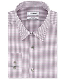 Men's STEEL Slim-Fit Non-Iron Performance Stretch Check Dress Shirt