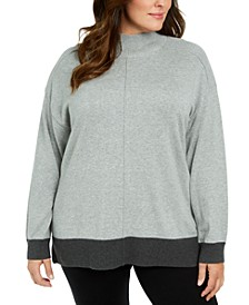 Plus Size Mock Neck Cotton Sweater, Created For Macy's