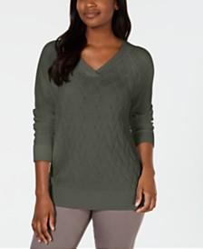 Karen Scott Basket-Stitch Sweater, Created for Macy's