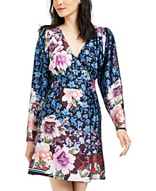 Printed Silk Faux-Wrap Dress