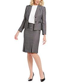 Le Suit Pleated-Hem Skirt Suit