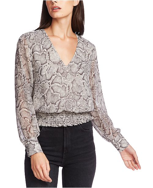 1.STATE Smocked Snake-Print V-Neck Top