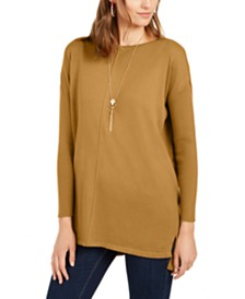 Style & Co Petite Seam-Front Tunic Sweater, Created For Macy's