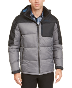 Hawke & Co. Outfitter Men's Puffer Jacket, Created For Macy's In Smoked Pearl/black