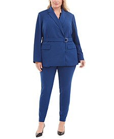 Plus Size Belted Blazer, Top & Ankle Pants