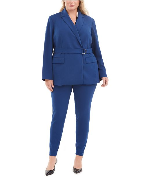 Calvin Klein Plus Size Belted Blazer, Top & Ankle Pants
