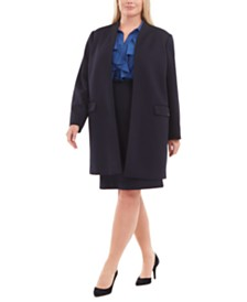 Calvin Klein Plus Size Textured Jacket, Ruffled Top & Skirt