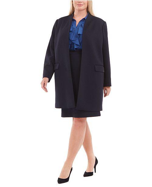 Calvin Klein Plus Size Textured Jacket, Ruffled Top & Skirt
