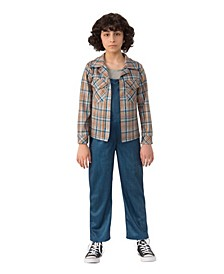 Little and Big Girl's Stranger Things 2 Kids Eleven's Plaid Shirt Child Costume