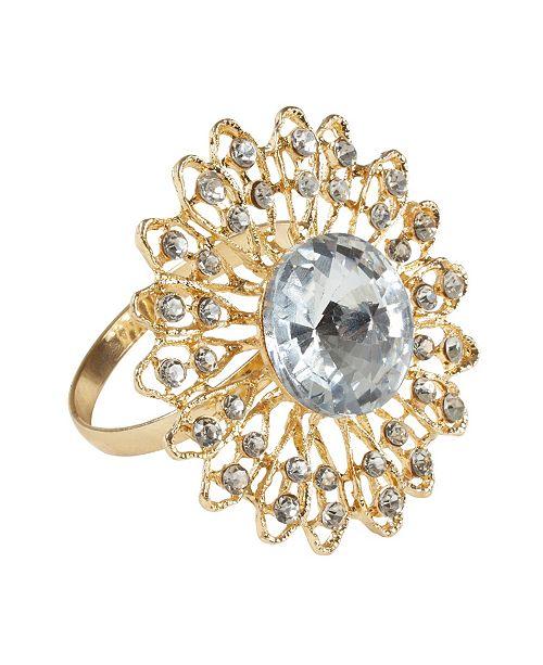 Saro Lifestyle Jeweled Broach Design Napkin Ring, Set of 4
