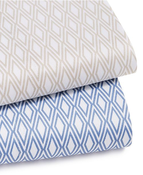 Charter Club Diamond Geo Cotton 550-Thread Count Sheet Set Collection, Created For Macy's
