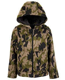 Big Boys Hooded Camo-Print Faux-Wool Jacket