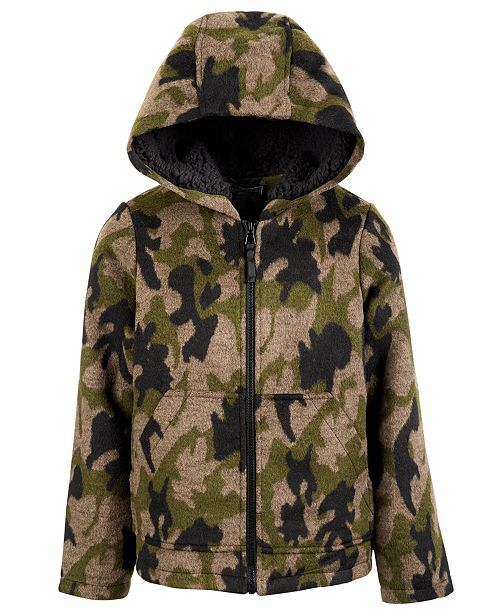 S Rothschild & CO Big Boys Hooded Camo-Print Faux-Wool Jacket