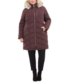 Calvin Klein Plus Size Faux-Fur-Trim Hooded Puffer Coat, Created For Macy's