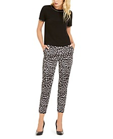 Stud-Trim Top & Leopard-Print Pull-On Pants
