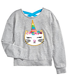Beautees Big Girls Fuzzy Unicorn Cat Top
