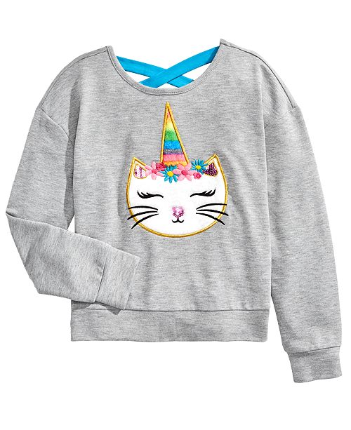 Beautees Big Girls Fuzzy Unicorn Cat Top
