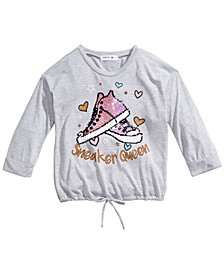 Big Girls Flip Sequin Sneakers T-Shirt