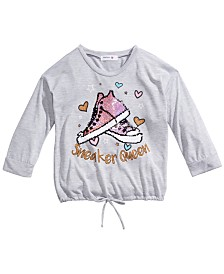 Beautees Big Girls Flip Sequin Sneakers T-Shirt