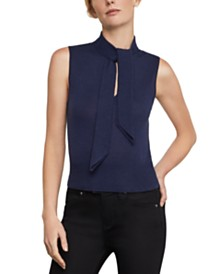 BCBGMAXAZRIA Tie-Neck Knit Top