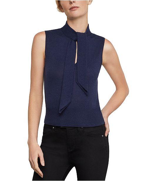 BCBGMAXAZRIA Tie-Neck Knit Top